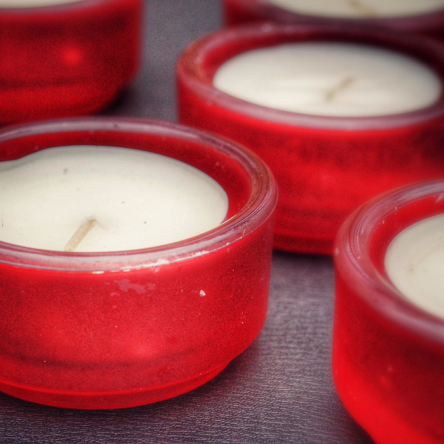"""Red tea light holders"" stock image"