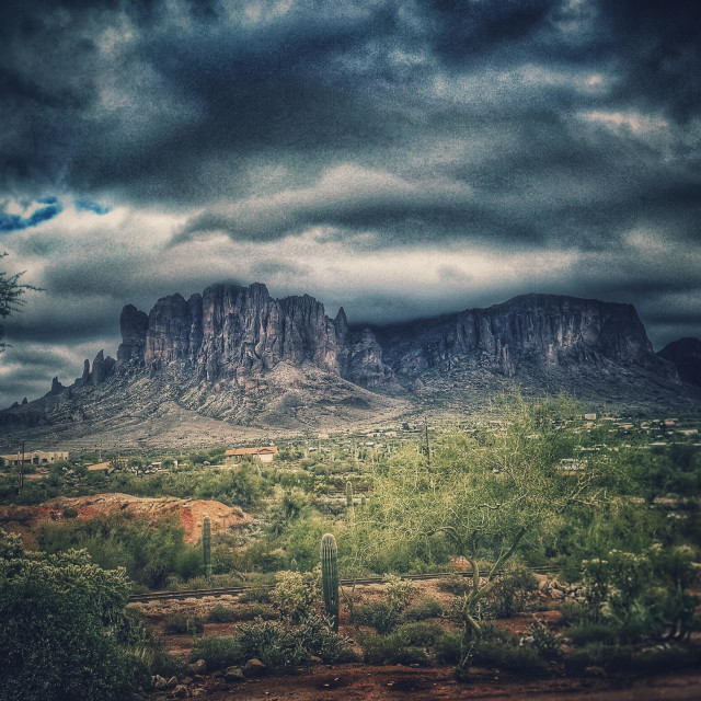 """""""Superstition Mountains"""" stock image"""