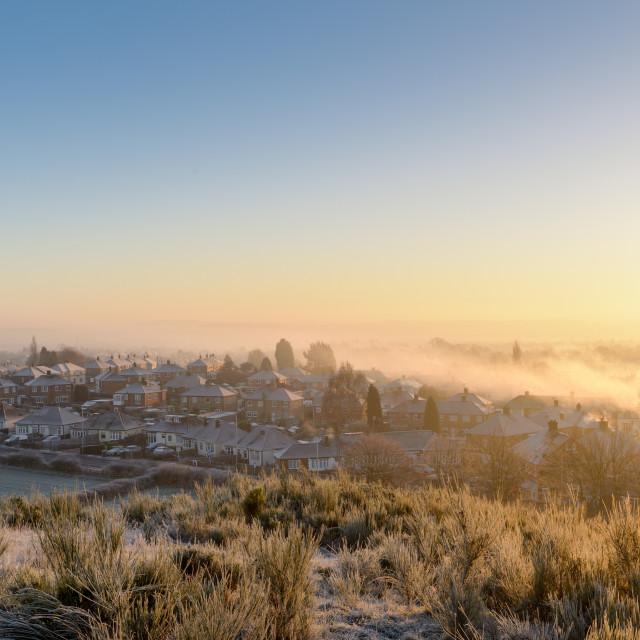 """UK Weather:Frosty morning in Hucknall,Nottinghamshire"" stock image"