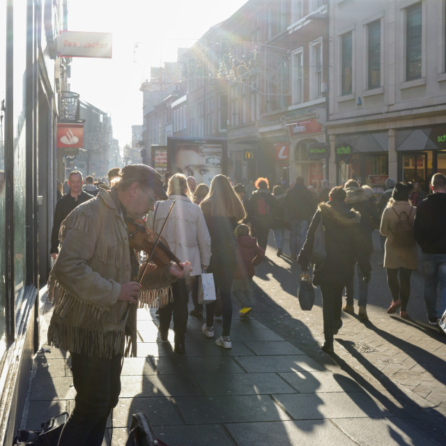 """""""Busking City Centre."""" stock image"""