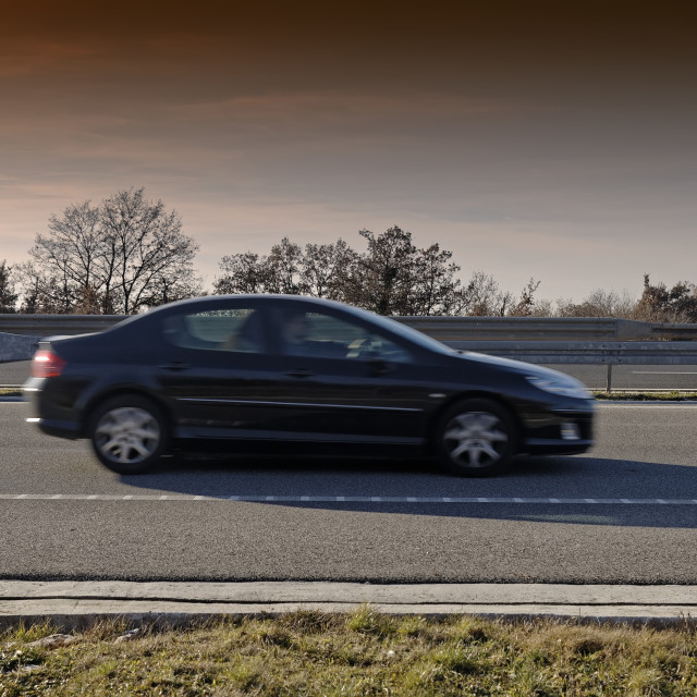 """Car on highway"" stock image"