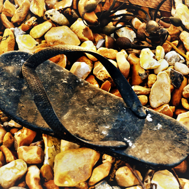 """""""Flip flop on a beach"""" stock image"""