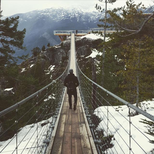 """""""Suspension bridge at Sea to Sky Summit in Squamish, BC"""" stock image"""