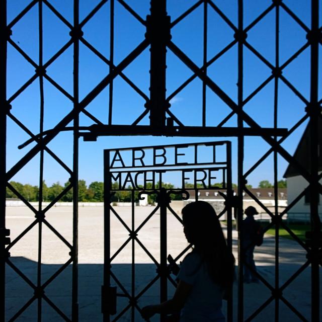"""Dachau, Arbeit macht frei (work liberates)"" stock image"