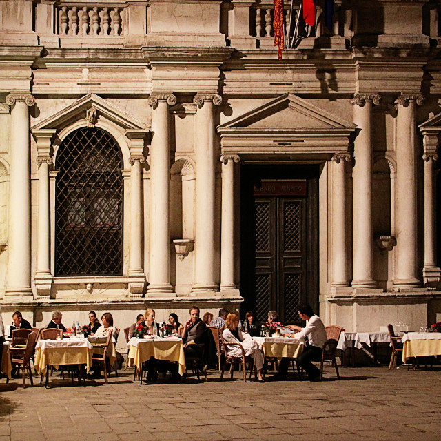 """""""Venice, Italy open air dinner in summer"""" stock image"""
