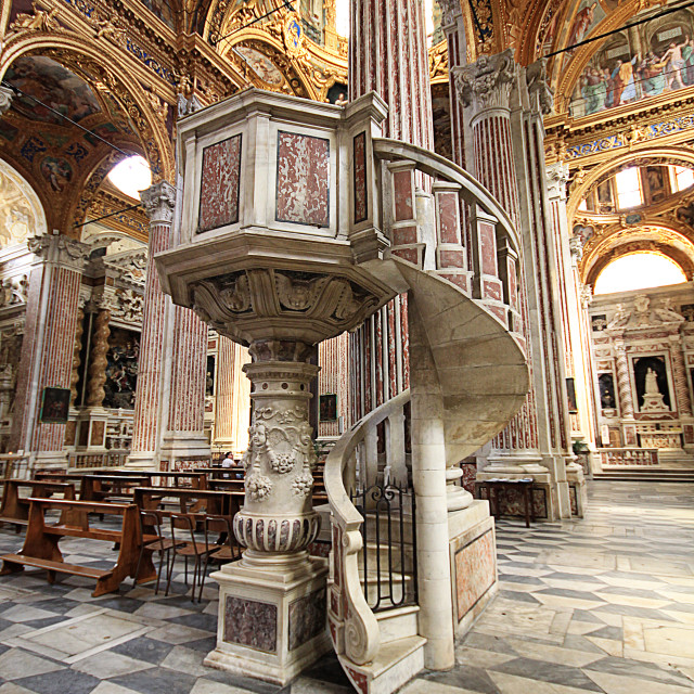 """Interior of Santissima Annunziata del Vastato, Catholic church in Genoa, Italy"" stock image"