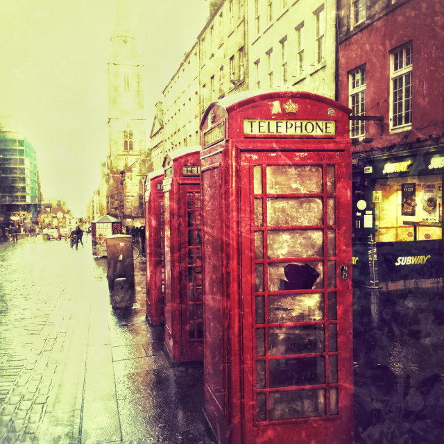 """""""Call Boxes on Royal Mile in Edinburgh"""" stock image"""