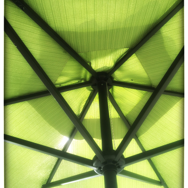 """Green patio umbrella"" stock image"