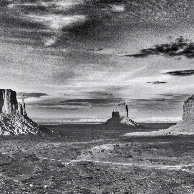 """""""Black and white image of monument valley"""" stock image"""