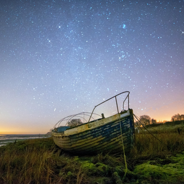 """Starlit Night Boat"" stock image"