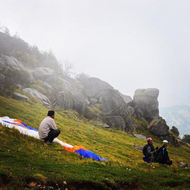 """Paragliding troop at Khalia Top in Munsiyari, Uttarakhand, India"" stock image"