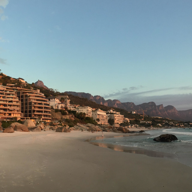 """Panoramic view over Clifton beach in cape town south africa"" stock image"
