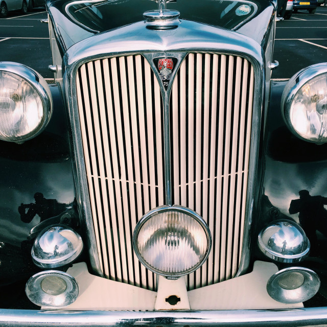 """""""Front of an old classic car."""" stock image"""
