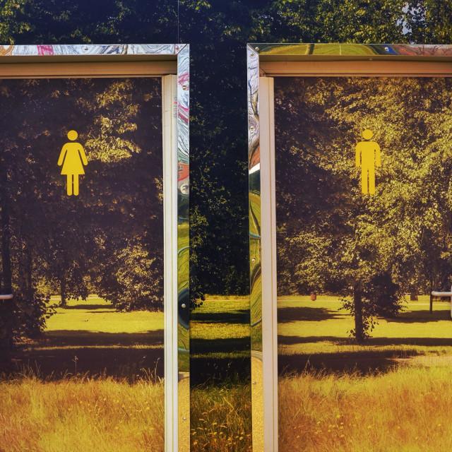 """""""Mystery gender doors"""" stock image"""