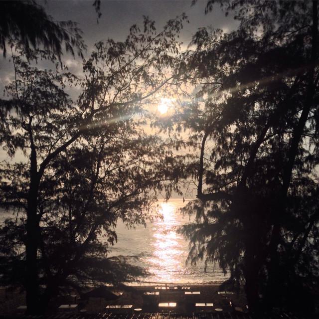 """Sunset at Jomtien beach, Pattaya, chonburi, Thailand"" stock image"