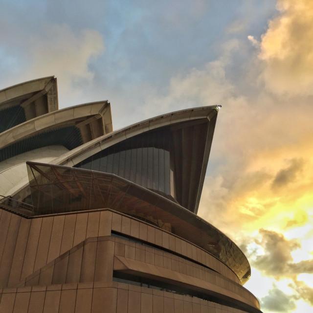 """""""Burning skies over the Sydney Opera House"""" stock image"""