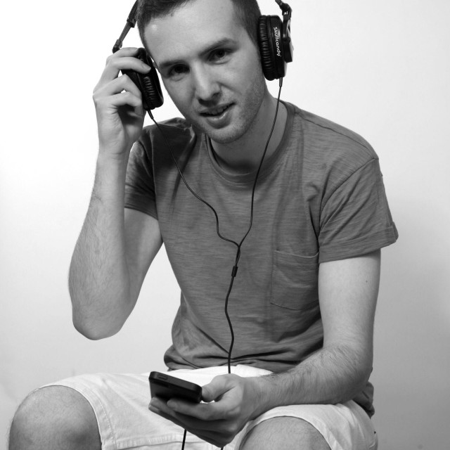 """""""Model with Music player and earphones"""" stock image"""