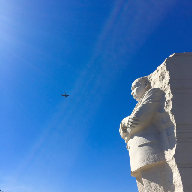 """""""Plane flying at Martin Luther King memorial"""" stock image"""