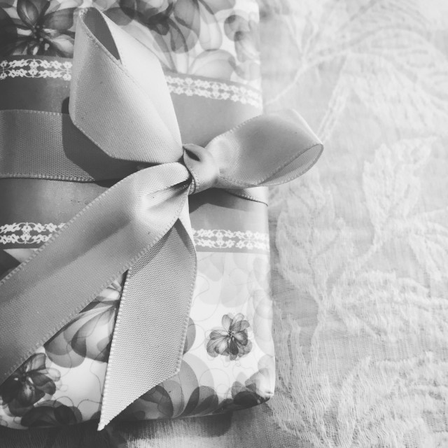 """""""Black and white present tied with ribbon"""" stock image"""