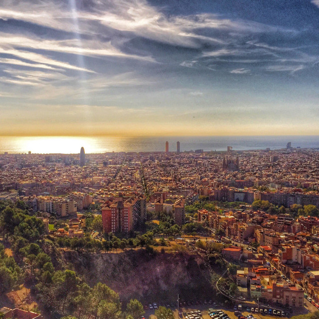 """Sunset in Barcelona"" stock image"
