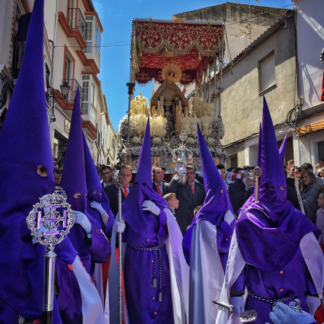 """""""Holy week in Andalucia. Penitents in Olvera."""" stock image"""
