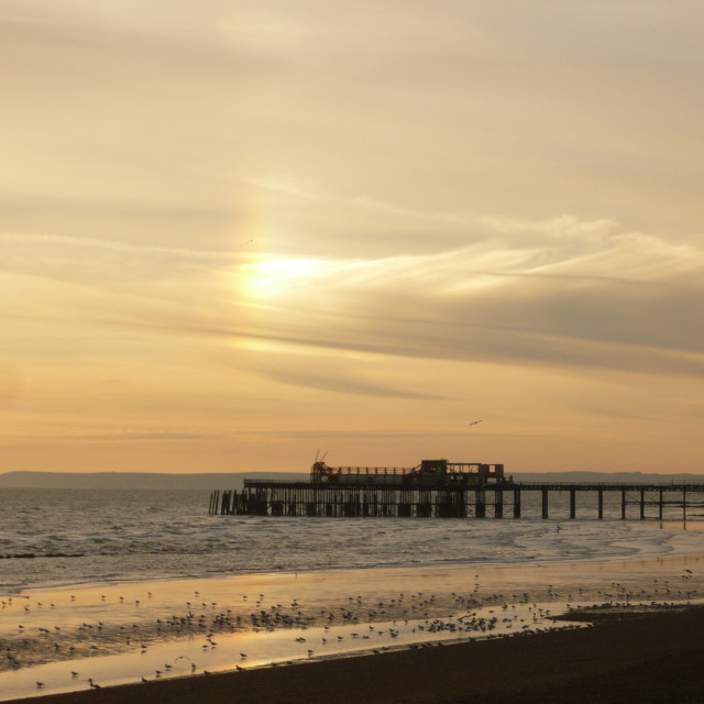 """""""Old pier, Hastings 2"""" stock image"""