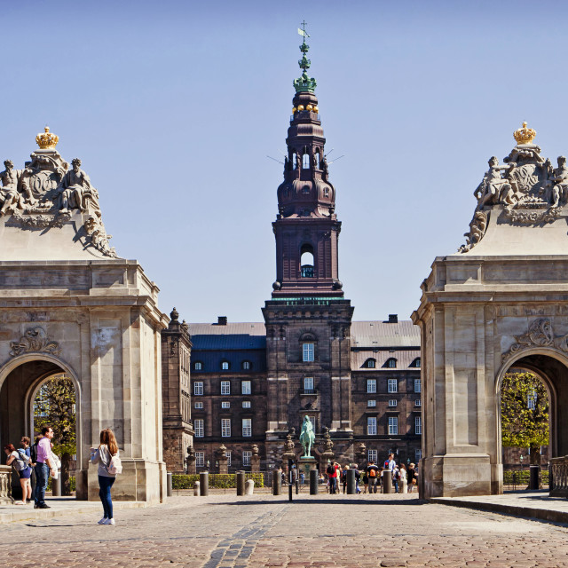 """Copenhagen, Denmark - Christianborg Palace and Marble Bridge"" stock image"