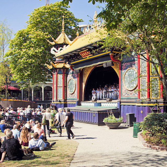 """The Pantomime Peacock Theatre, Tivoli Gardens, Copenhagen, Denmark"" stock image"