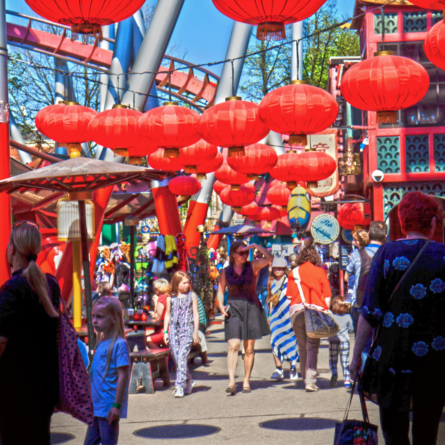 """Copenhagen, Denmark red chinese lanterns at Tivoli Gardens"" stock image"