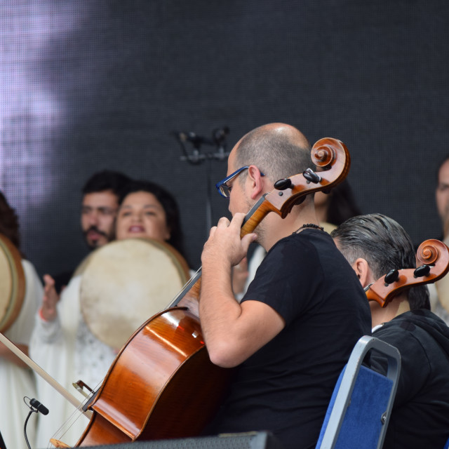 """""""The Orchestra of Syrian Musicians at Glastonbury 2016"""" stock image"""
