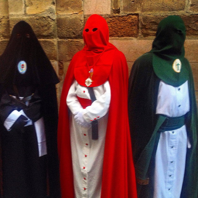 """""""Hood es penitents during an Easter procession in Astorga, Maragateria, Leon, Spain"""" stock image"""