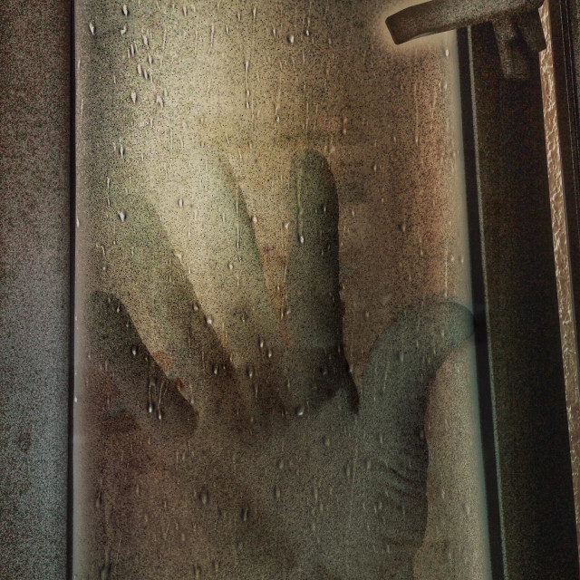 """My hand on a window"" stock image"