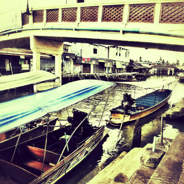 """Boats on the canal at the floating market Amphawa Thailand"" stock image"