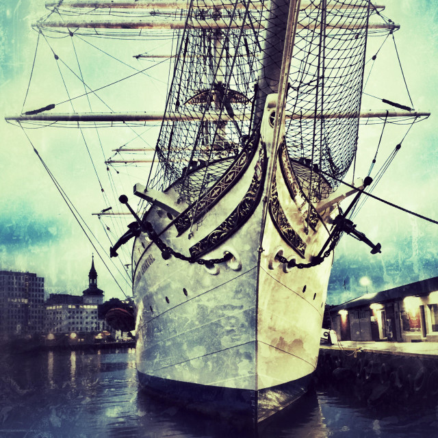 """""""Tall Ship Statsraad Lehmkuhl at it's quay in the harbour of Bergen, Norway."""" stock image"""