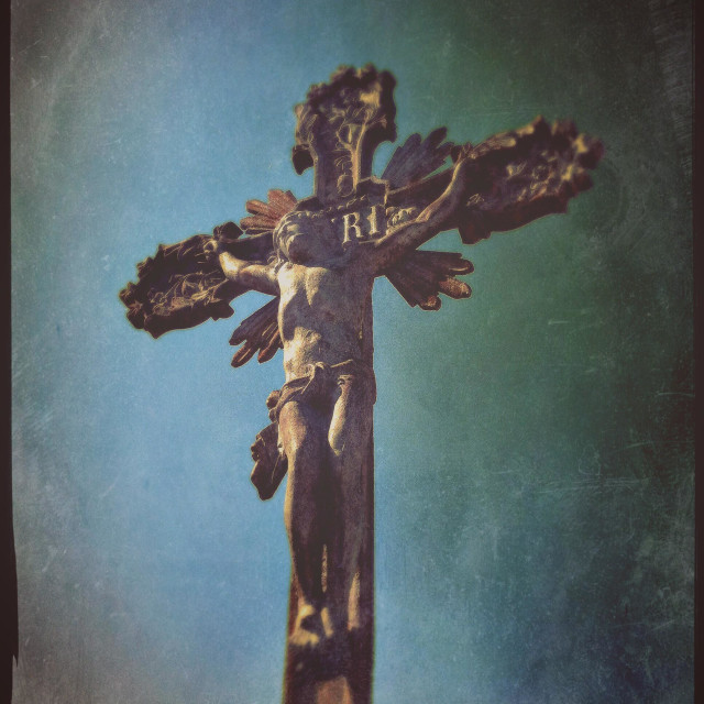"""""""Stone sculpture of Jesus Christ crucified on the cross"""" stock image"""