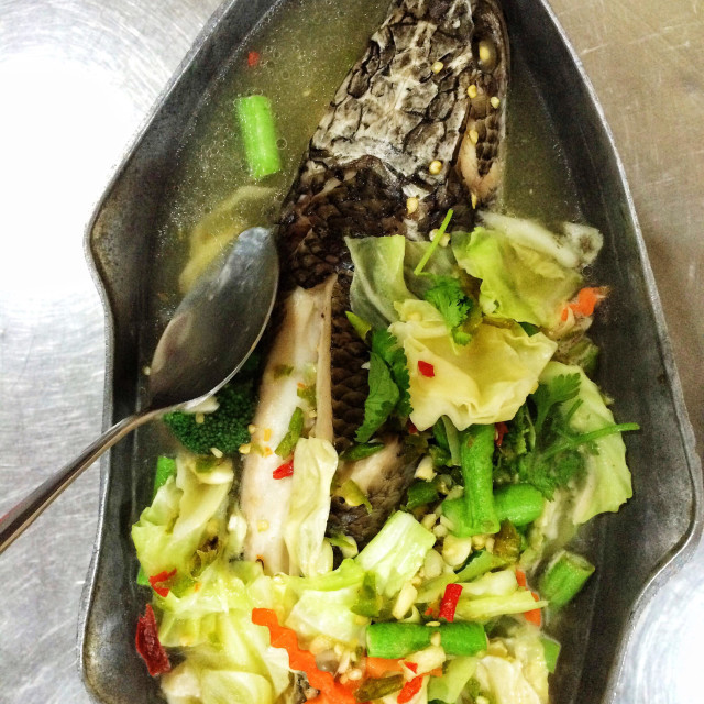 """Steamed snakehead fish"" stock image"