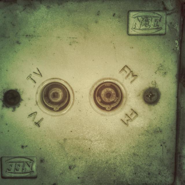 """""""TV/FM socket outlet plate"""" stock image"""