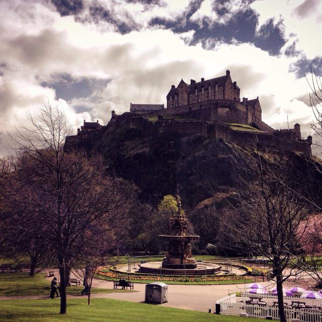 """Edinburgh Castle from Princes Street"" stock image"