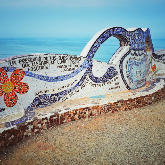 """""""Mosaic bench in Parque del Amore, Lima, Peru"""" stock image"""