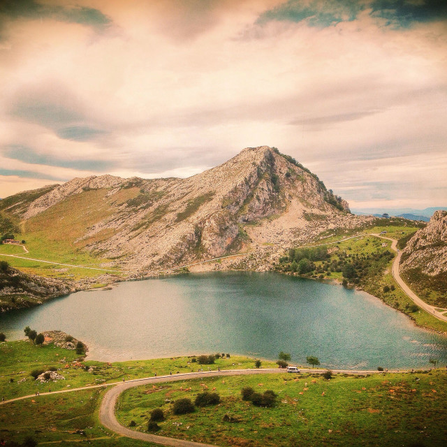 """View of Lake Enol in the Lakes of Covadonga, Asturias - Spain"" stock image"