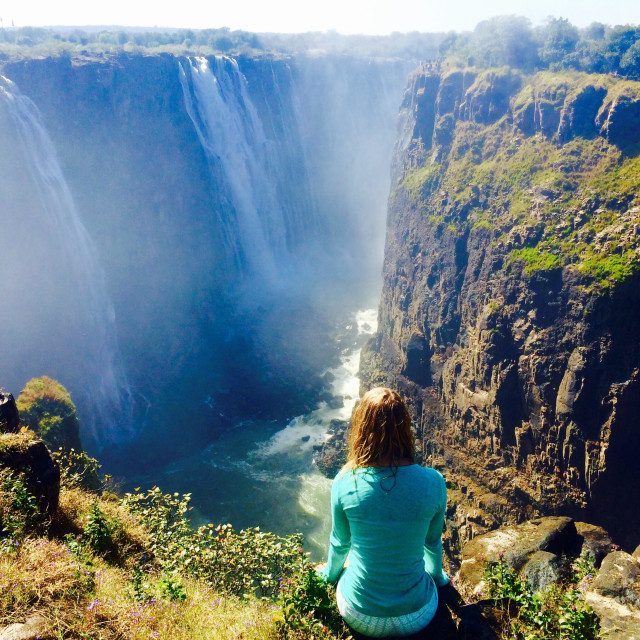 """""""Walking in the footsteps of my grandparents - Victoria falls - South Africa"""" stock image"""