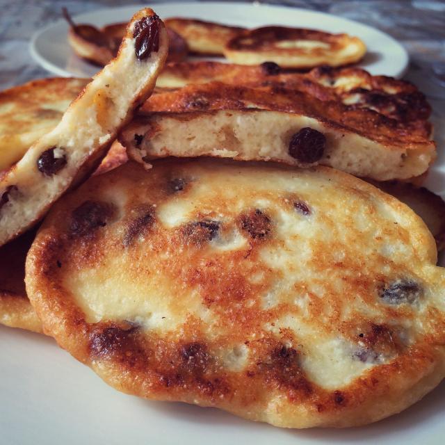 """Ricotta Pancakes With Raisins."" stock image"