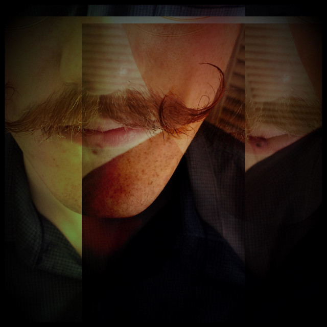 """""""Man with mustache, Holga filter."""" stock image"""