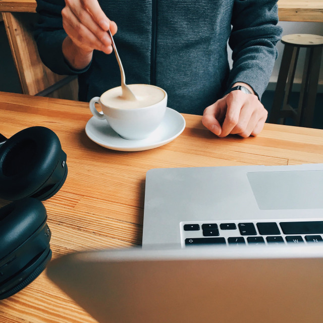 """Freelancer taking a coffee break. Startup founder thinking of his nexts steps."" stock image"