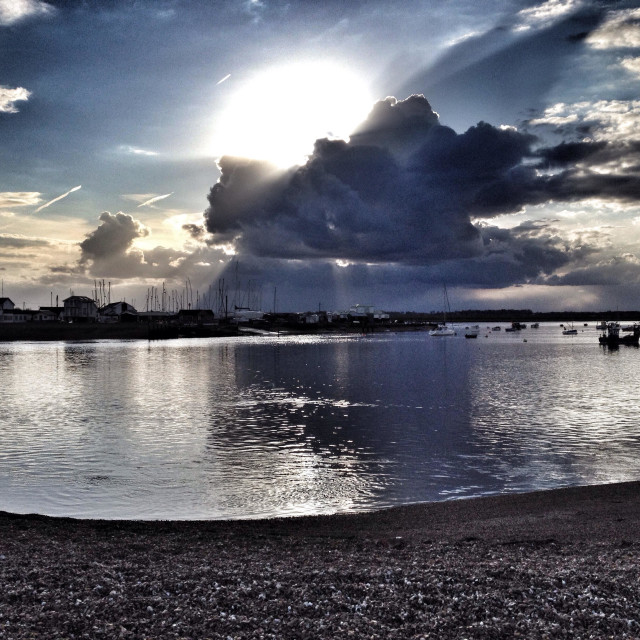 """""""Snow clouds over the river Deben, Felixstowe Ferry Suffolk UK"""" stock image"""
