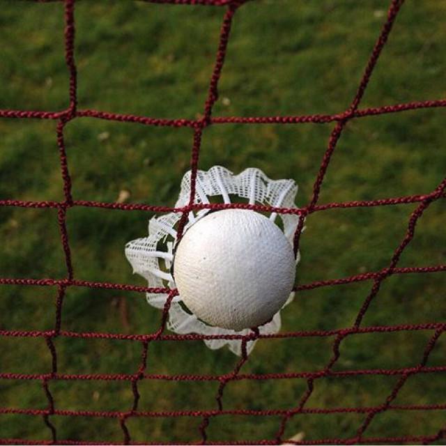 """""""Shuttlecock in badminton net ??"""" stock image"""