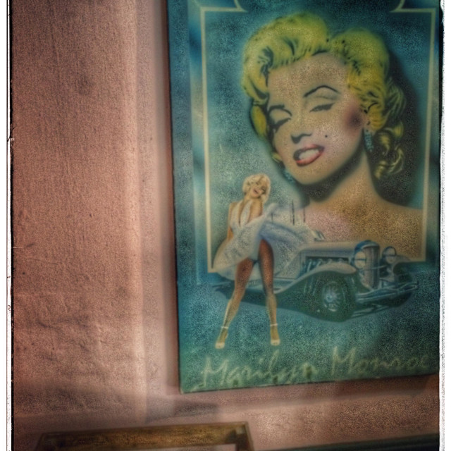 """Vintage inspired room with Marilyn Monroe poster on wall."" stock image"