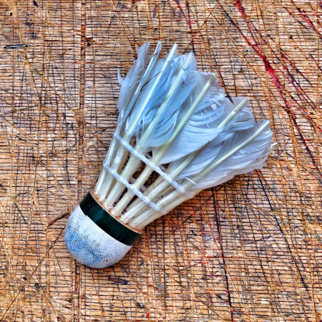 """Old used feather shuttlecock used to play badminton."" stock image"