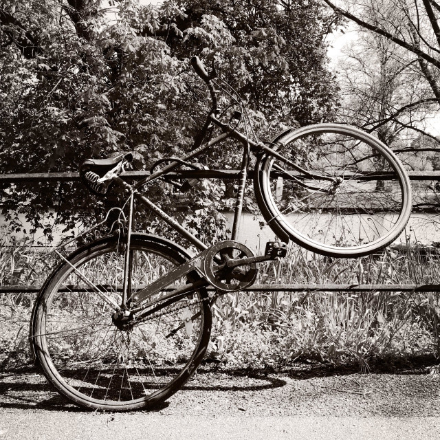 """Bike parked on railing (black and white)"" stock image"