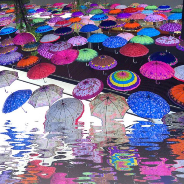 """Floating umbrellas"" stock image"